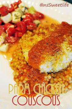 Chicken Parmesan Couscous with honeydew caprese salad
