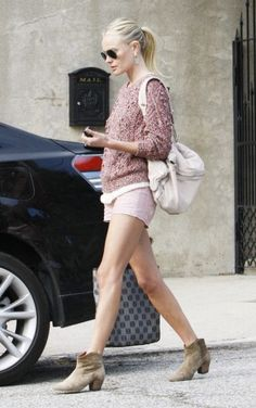 Kate Bosworth - taupe ankle boots to blend in to her dusted pink outfit