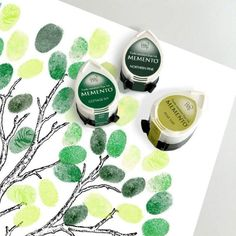 three green ink pads for wedding fingerprint guest book tree - summer set - three momento dew drop tsukineko, baby shower tree Wedding Tree Guest Book, Guest Book Tree, Tree Wedding, Guest Books, Wedding Stuff, Fingerprint Wedding, Fingerprint Tree, Baby Shower Tree, Baby Boy Shower