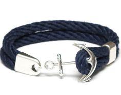 61089ffe0905 Nautical Rope Bracelet   Nautical Anchor Bracelet   Navy Blue Anchor  Bracelet   Silver Anchor Bracelet