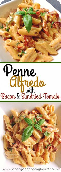 A delicious twist on the classic Alfredo. Penne Alfredo with Bacon and Sundried … A delicious twist on the classic Alfredo. Penne Alfredo with Bacon and Sundried Tomato will change your 'go to' quick dinner forever. Recipes with Bacon Think Food, I Love Food, Good Food, Yummy Food, Tasty, Penne Alfredo, Chicken Alfredo, Pasta With Alfredo Sauce, Pasta Facil
