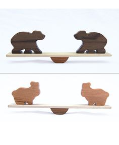 Animal Seesaw 2 pairs of animals, Wood Toy Balancing Game, Elephant, Giraffe, Bear, Lion, Hippo, Bunny. on Etsy, 20,36 €