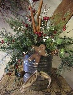 Gingerbread Holiday Arrangement | Gatherings at Muncy Creek Barn Works Primitive Christmas Decorating, Prim Christmas, Christmas Gingerbread, Country Christmas, Winter Christmas, Vintage Christmas, Christmas Wreaths, Gingerbread Men, Christmas Kitchen