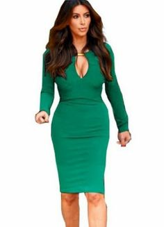 Green V Neck Long Sleeve Slim Bodycon Dress pictures