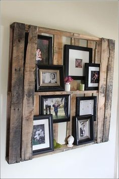 Rustic Picture Frames Display with pallet
