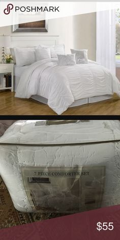 "New Hermosa White 7 piece comforter set king size New in original package Hermosa White beautiful king size bedding set creates a touch of romance and elegance to any bedroom. Cascade of ruching and ruffles are finished with vertical stitchings. Floral embroidery and sequin decorated pillows. Set includes 1 comforter, 2 shams, 1 bedskirt, 1 square cushions, 1 breakfast cushion, 1 square cushion; comforter 78""x86"", shams 20x26"", bedskirt, square cushions 18x18"", breakfast cushion 12x16""…"