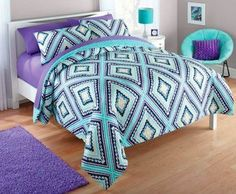Teen Girls Mexican Latin Blue Purple and Yellow Aztec Diamond TWIN Bedding Set (2pc Bed in a Bag)