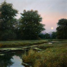 Renato Muccillo ~ Dusk over Neaves Road Canal Contemporary Landscape, Landscape Art, Landscape Paintings, Nocturne, Theme Nature, Seen, Nature Scenes, Fine Art Photography, Dusk