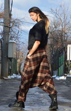 Wool Harem Pants / Oversize Maxi Pants / Extravagant by SSDfashion