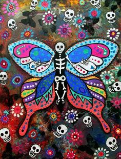 MEXICAN Folk Art BUTTERFLY Flowers Day of the Dead Original Painting_PRISTINE