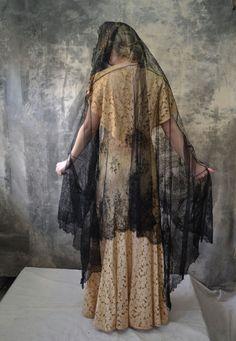 edwardian black lace mourning shawl