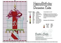December Birthday Cake Cross Stitch Pattern | Brooke's Books Publishing