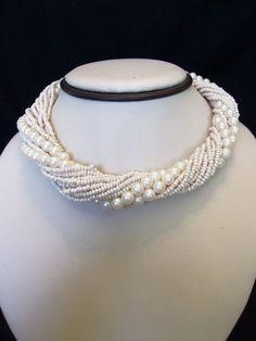 Vintage Faux Pearl Glass Torsade Gold Plate Choker Necklace Wedding Bridal #Unbranded #Choker