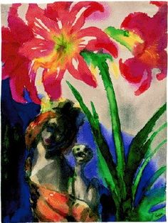 Emil Nolde, Amaryllis and daisy. 1935