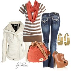 """""""quilted leather jacket and pops of orange"""" by shauna-rogers on Polyvore"""