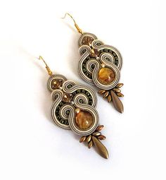 Topaz Earrings old gold boho lovers amber earrings by sutaszula