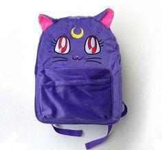 Sailor Moon Backpack Luna Cat Purple Furry Fur Bag Harajuku Cute Kawaii AMO Star | eBay