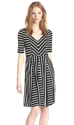 Maggy London Flippy Striped Fit-and-Flare Dress