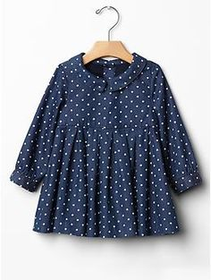 wear: a #babyGap polka dot denim dress.