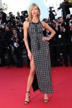 Youth premiere - May 20 2015 Karlie Kloss wore a gown by Louis Vuitton.