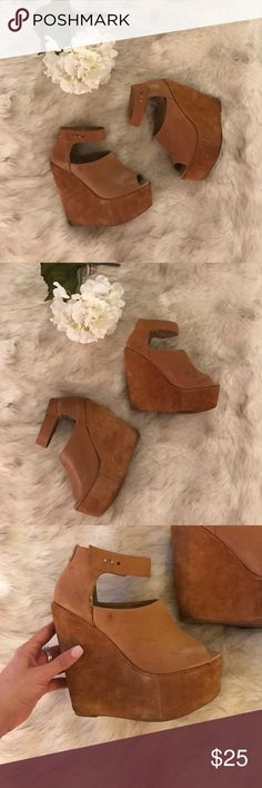 """Deena Ozzy Brown Leather Wedge Denna & Ozzy Brown Leather Peep Toe Wedge. With gold studded ankle strap. Used. 5 1/2"""" heel height. Needs to go! Make an offer. Also available in black. Deena & Oozzy Shoes Wedges"""