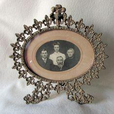 Antique French Fleur de Lis & Gargoyle Picture Frame, Mirror Frame