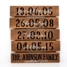 Established dates Sign Family Name Pallet Rustic by LEVinyl