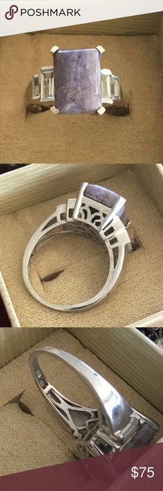 Stunning 925 silver purple & baguette ring Stunning 925 silver purple & baguette ring size 8 Rings Jewelry Rings