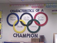 We had an Olympic theme this year, so my mother helped create the Olympic Rings . - We had an Olympic theme this year, so my mother helped create the Olympic Rings for me! Sports Theme Classroom, Future Classroom, School Classroom, Classroom Decor, Theme Sport, Olympic Idea, Olympic Games For Kids, Pe Ideas, Theme Ideas