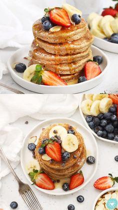 Oatmeal Protein Pancakes, Healthy Protein Pancakes, Banana Oat Pancakes, Healthy Snacks, Best Healthy Pancake Recipe, Quinoa Pancakes, Breakfast Pancakes, Dairy Free Pancakes, Buzzfeed Tasty