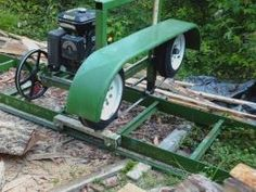 Bandsaw Mill - Homemade bandsaw mill featuring a 20' long track. Powered by a 10 HP motor and equipped with a 1-1/4 #BestWoodworkingBandsaw
