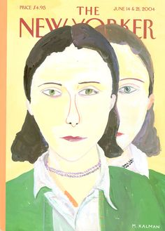 """The New Yorker - Monday, June 14, 2004 - Issue # 4079 - Vol. 80 - N° 16 - « The Summer Fiction Issue » - Cover """"Twice Removed"""" by Maira Kalman"""