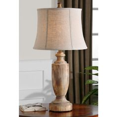 Calvino Turned Wood Table Lamp   Overstock.com Shopping - Great Deals on Table Lamps