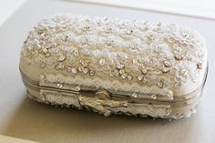 Top view of handmade Bridal Clutch with French silk fabric, Swarovski crystals, lace and twig clasp ~ we ❤ this! moncheribridals.com