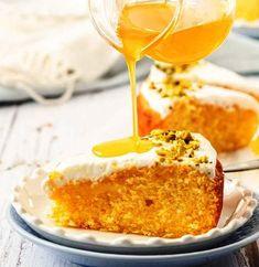 OrangeSemolia-Cake-with-Orange-Syrup-4 Orange Syrup, Pudding, Cake, Desserts, Food, Tailgate Desserts, Deserts, Custard Pudding, Kuchen