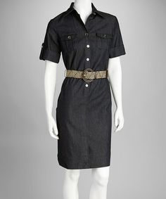 $21.99  Take a look at this Navy Belted Shirt Dress by Sharagano on #zulily today!