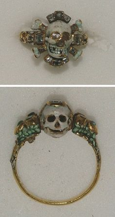 Two Memento Mori gold rings from the 17th century - Presented by Dr C.D.E. Fortnum in honour of Queen Victoria's Diamond Jubilee, 1897;WA1899.CDEF.F476 and WA1899.CDEF.F520 http://www.ashmolean.org/ash/objects/?mu=153