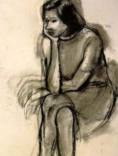 Richard Diebenkorn - Seated Woman, Head in Hand, 1966. Charcoal on paper, 25 x 19 in.