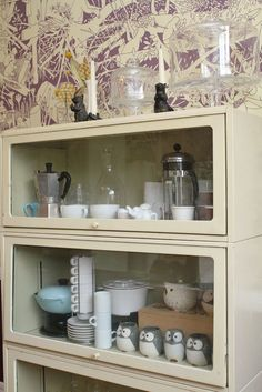 lawyer's bookcase -- a neat way to display tea or coffee pots Furniture Update, Paint Furniture, Painting Bookcase, Barrister Bookcase, Modern Cottage, Handmade Home, Home Collections, House Tours, Sweet Home