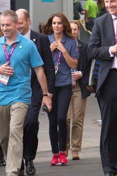 Kate Middleton wearing J Brand 811 Mid-Rise Skinny Leg Jeans in Navy Adidas Supernova Glide 4 Running Trainers