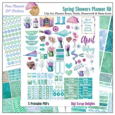Spring Watercolor Printable Planner Sticker Kit 5 PDF, 300 French Provence Stickers Watercolor EC Happy Planner Umbrella, Rain  Five 8.5x11 pages PACKED full of beautiful French Provence spring watercolor blue green Planner Stickers with umbrellas, rain boots, and flowers in water
