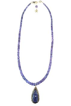 """Beautiful Iolite pendant surrounded by pave diamonds in oxidized sterling with a tanzanite rondell chain. It measures 15.75"""". Can be layered with a longer necklace. Simple, but very elegant!   Tanzanite Iolite Necklace by Melinda Lawton Jewelry. Accessories - Jewelry - Necklaces North Carolina"""