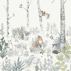 Wallpaper Magic, Tier Wallpaper, Forest Wallpaper, Wallpaper Direct, White Wallpaper, Animal Wallpaper, Wallpaper Samples, Forest Mural, Woodland Nursery