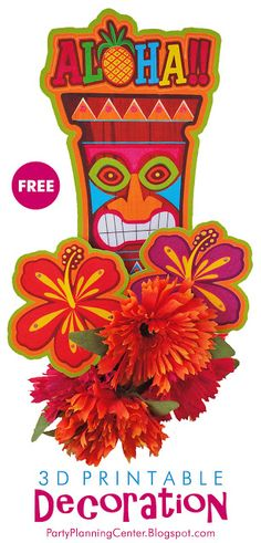 FREE Printable Hawaiian Luau Tiki Totem Decoration | This printables set will allow you to make a tabletop tiki decoration, with or without the included hibiscus flowers. You can also add artificial (or real) flowers as shown above to make a spectacular display for your next luau! | Also comes with matching FREE printable cocktail picks, cupcake toppers, invitations and napkin rings.   #LuauDecorations #LuauPrintables #PrintableLuauDecoration #Luau #TikiDecoration #LuauParty #CarlaChadwick Hibiscus Flowers, Real Flowers, Hawaiian Cupcakes, Hawaiian Luau Party, Luau Decorations, Tiki Totem, Free Printables, Party Printables, Cupcake Toppers Free