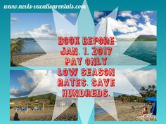 Book before Jan.1, 2017 and save big for your accommodations on our beautiful #island in the #Caribbean of #Nevis. Pay our low season rates during high season.