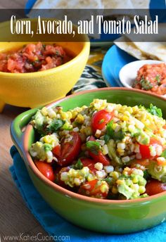 Corn, Avocado, and Tomato Salad. Healthy and loaded with Mexican flavors!