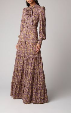 Bishop sleeves Self-tie scarf detail Partially lined Composition: polyester Color: purple floral Front buttons Imported Modest Dresses, Simple Dresses, Elegant Dresses, Vintage Dresses, Casual Dresses, Maxi Dresses, Vintage Long Dress, Dresses With Sleeves, Look Fashion