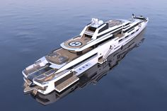 INES is a luxury superyacht by Spanish yacht designer Alvaro Aparicio de Leon. This yacht concept has two helicopter landing pads and a huge beach club Sport Yacht, Yacht Boat, Big Yachts, Super Yachts, Princess Yachts, Luxury Helicopter, Yacht World, Sailboat Living, Yacht Builders