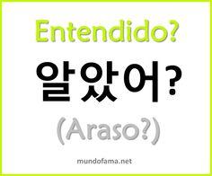 "Interestingly, k-word ""araso"" is evidently more like s-word ""entender/entendido"" than it is like s-word ""comprender/comprendido. Korean Words Learning, Korean Language Learning, Korean Phrases, Korean Quotes, How To Speak Korean, Learn Korean, Learn Hangul, Korean Alphabet, Korean Lessons"