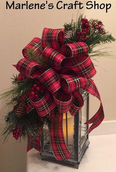 Christmas Lantern Swag/ Plaid Christmas bow by MarlenesCraftShop